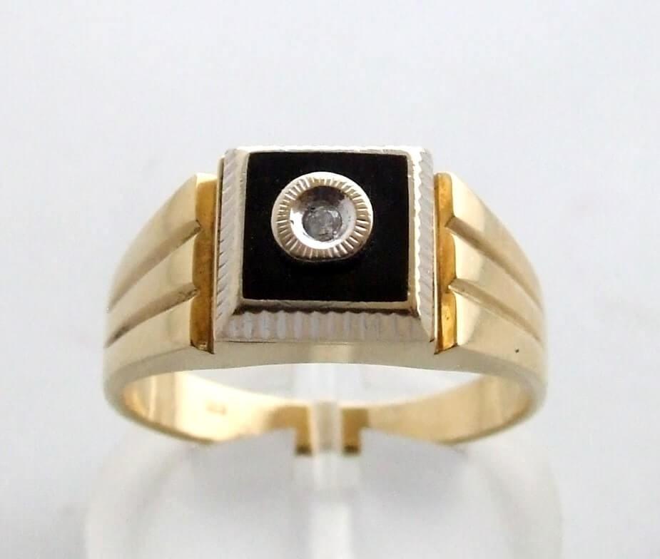 Afbeelding van Atelier Christian 14 krt ring met onyx geel goud
