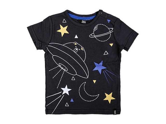 Afbeelding van Beebielove Shirt korte mouw star antracite zwart