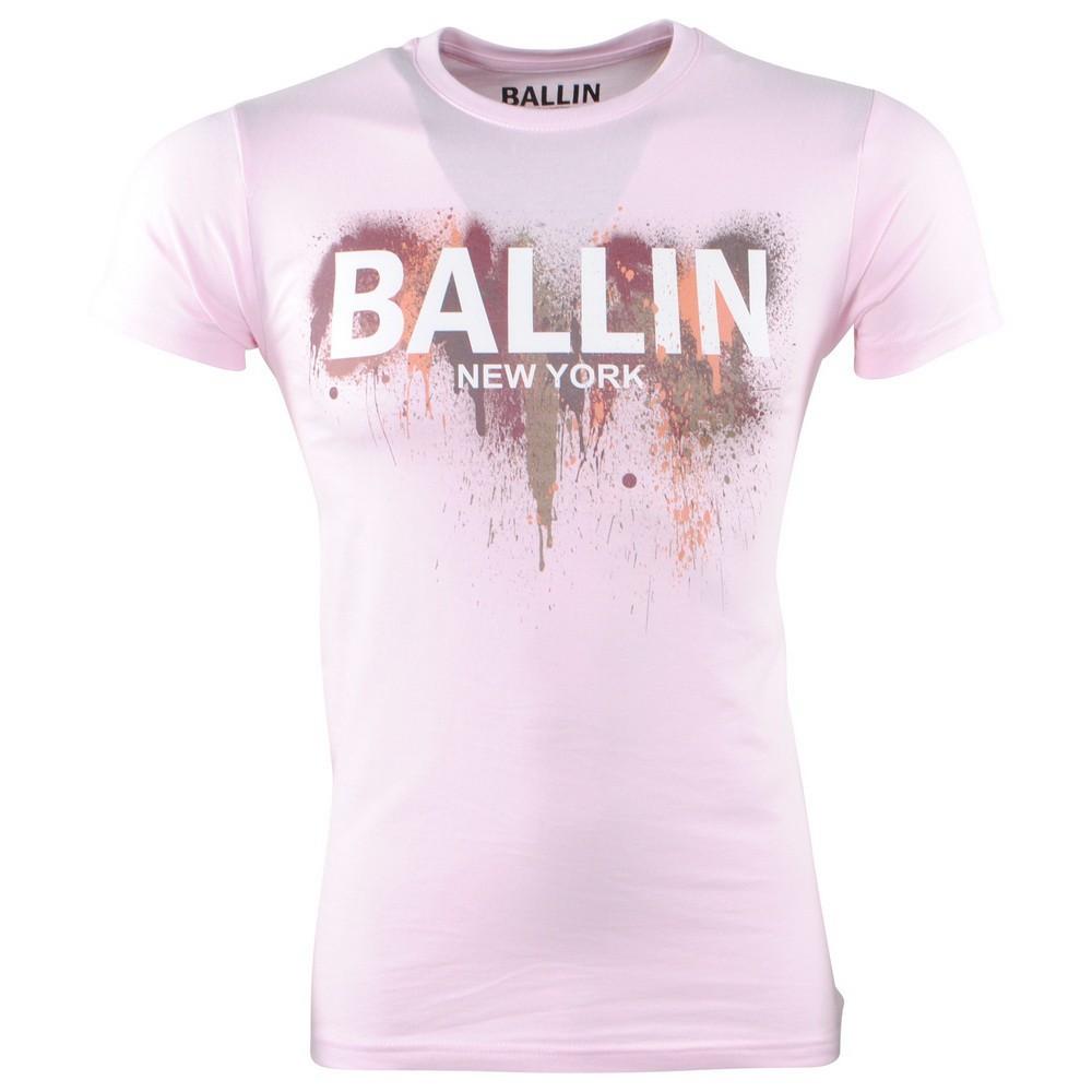 Afbeelding van Ballin New York Heren tshirt ronde hals slim fit paint splash roze