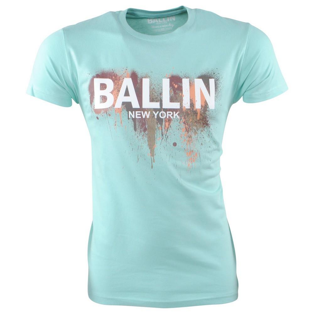 Afbeelding van Ballin New York Heren tshirt ronde hals slim fit paint splash mint groen