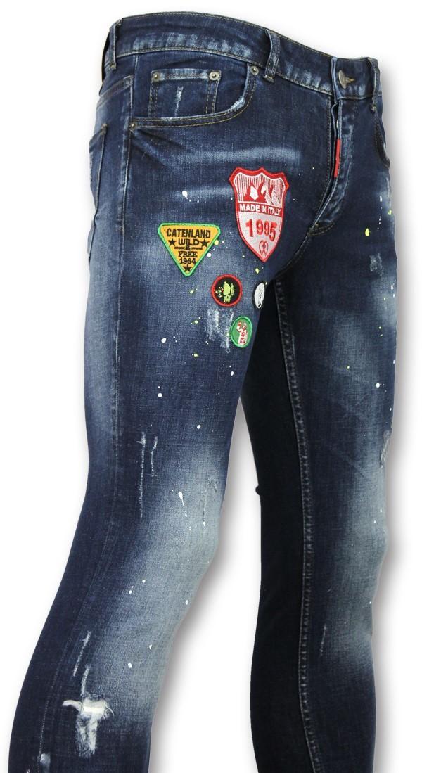 Afbeelding van Addict Jeans met patches heren blauw