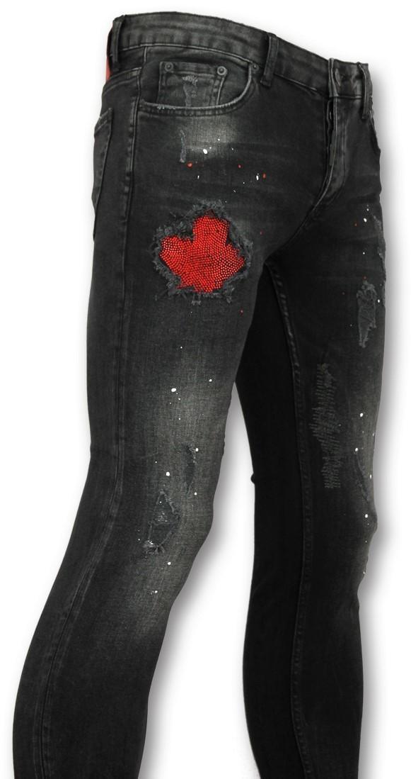 Afbeelding van Addict Jeans verfspatten heren zwart