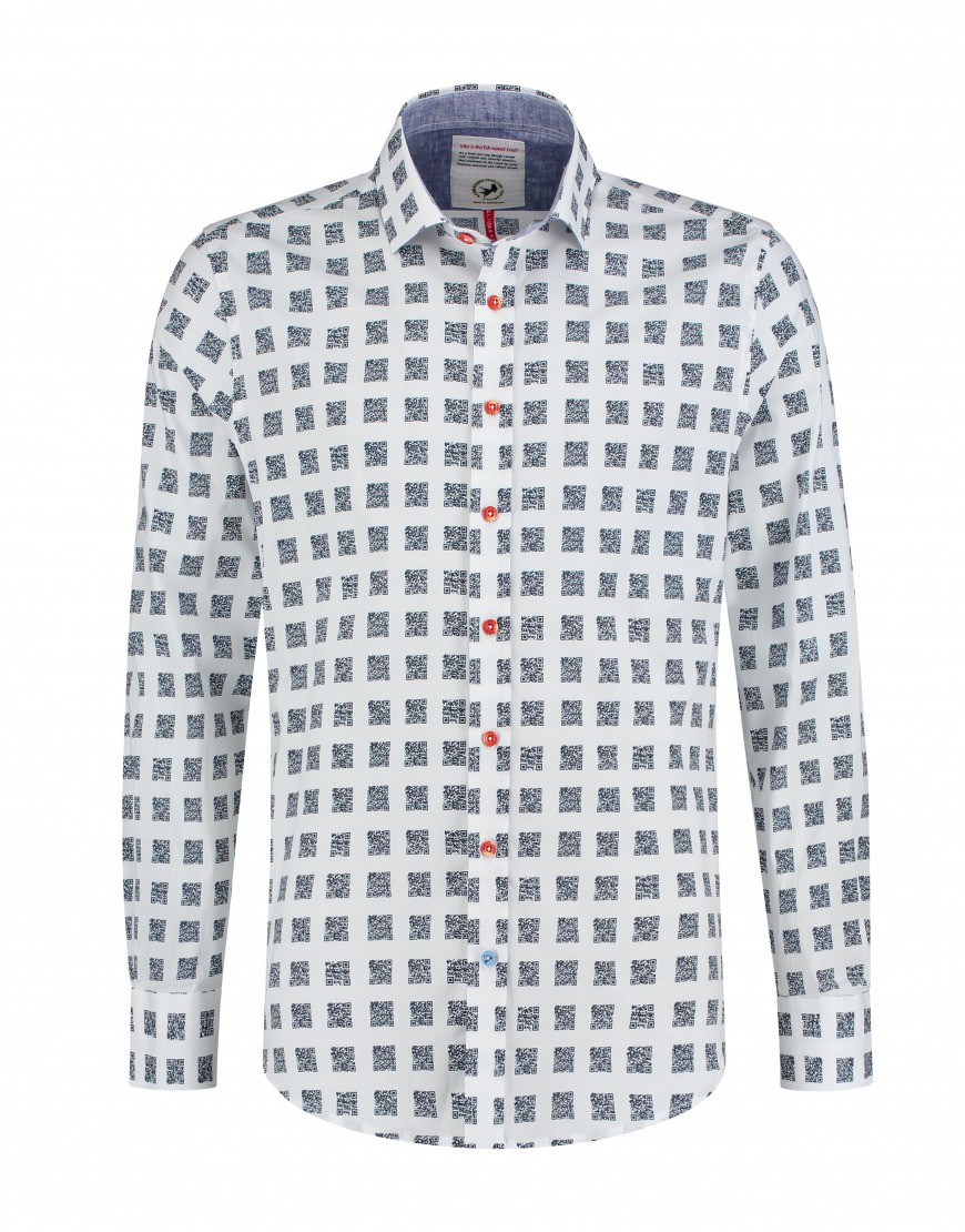 Afbeelding van A Fish Named Fred Shirt-qr-code wit