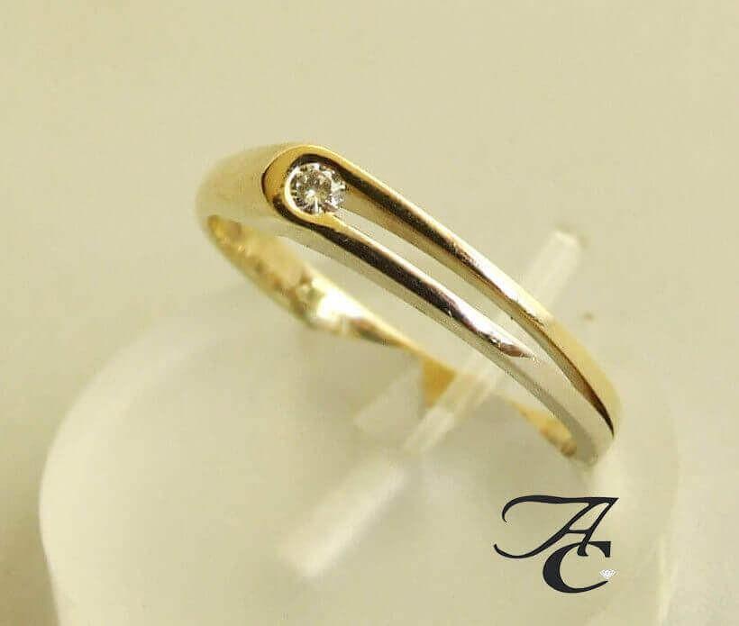 Afbeelding van Atelier Christian 14 karaat bicolor ring met briljant geel goud