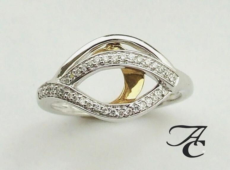 Afbeelding van Atelier Christian Bicolor gouden ring met briljanten geel goud
