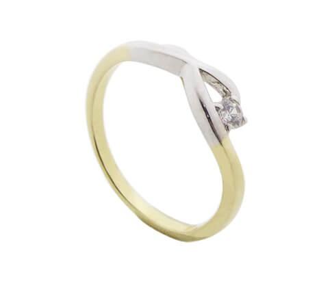 Afbeelding van Atelier Christian Bicolor ring met briljant geel goud