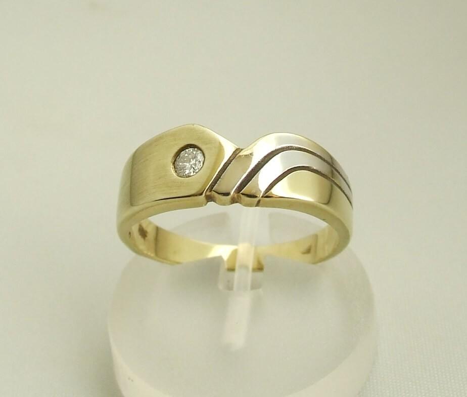 Afbeelding van Atelier Christian Bicolor gouden ring met briljant 0.10 ct. geel goud