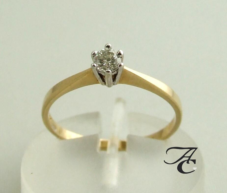 Afbeelding van Atelier Christian 14 karaat gouden ring met diamant in klauwzetting wit goud