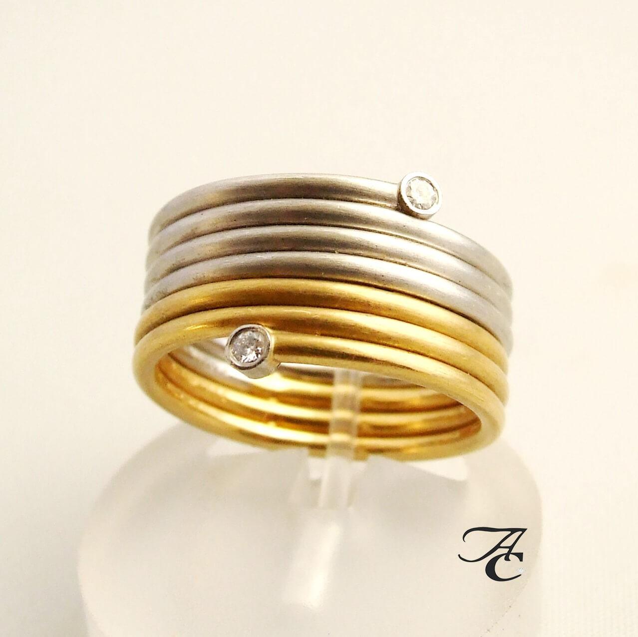 Afbeelding van Atelier Christian Bicolor diamanten ring geel goud