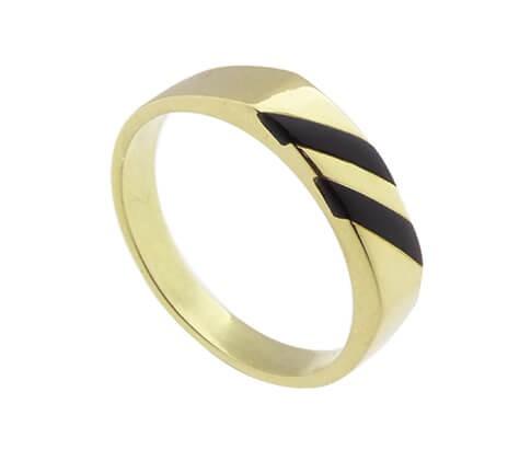 Afbeelding van Atelier Christian 14 karaat ring met onyx geel goud
