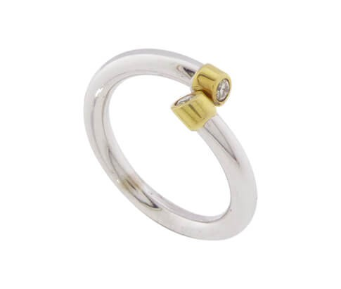 Afbeelding van Atelier Christian Bicolor ring met 2 briljanten geel goud