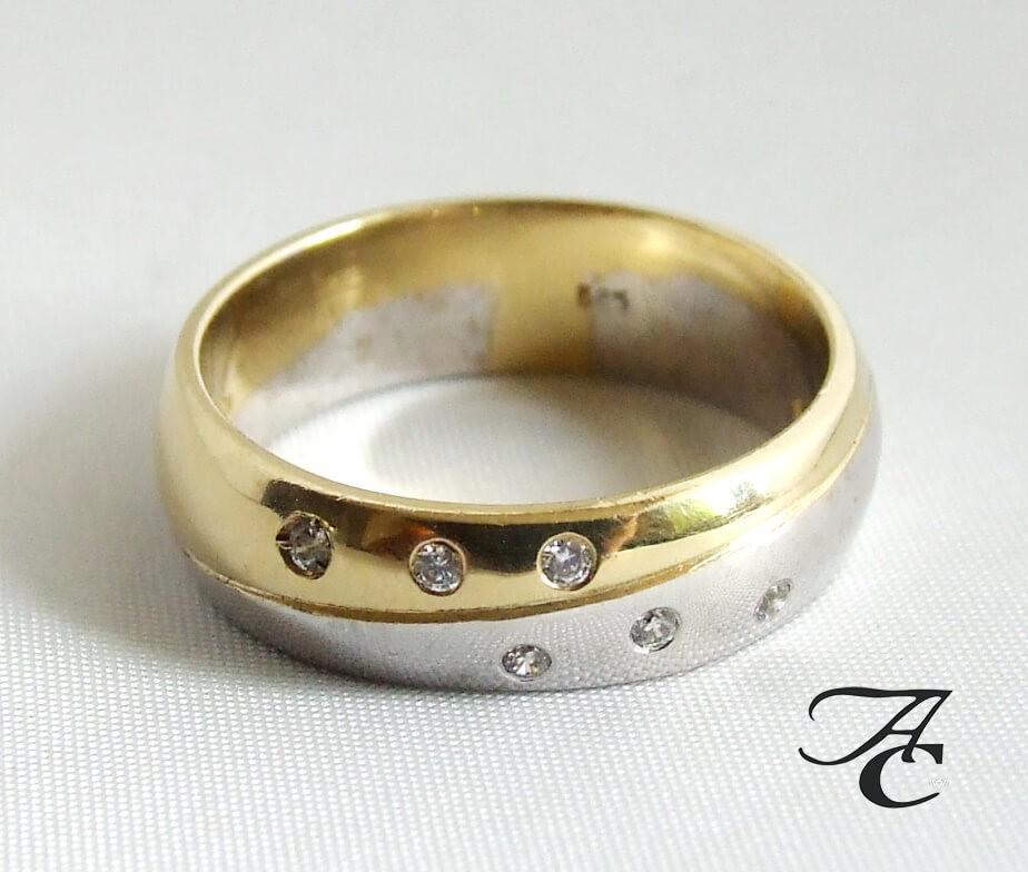 Afbeelding van Atelier Christian Bicolor ring met briljanten geel goud