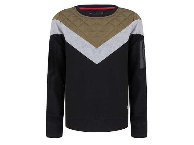 Afbeelding van Indian Blue Sweater crewneck sleeve pkt zwart