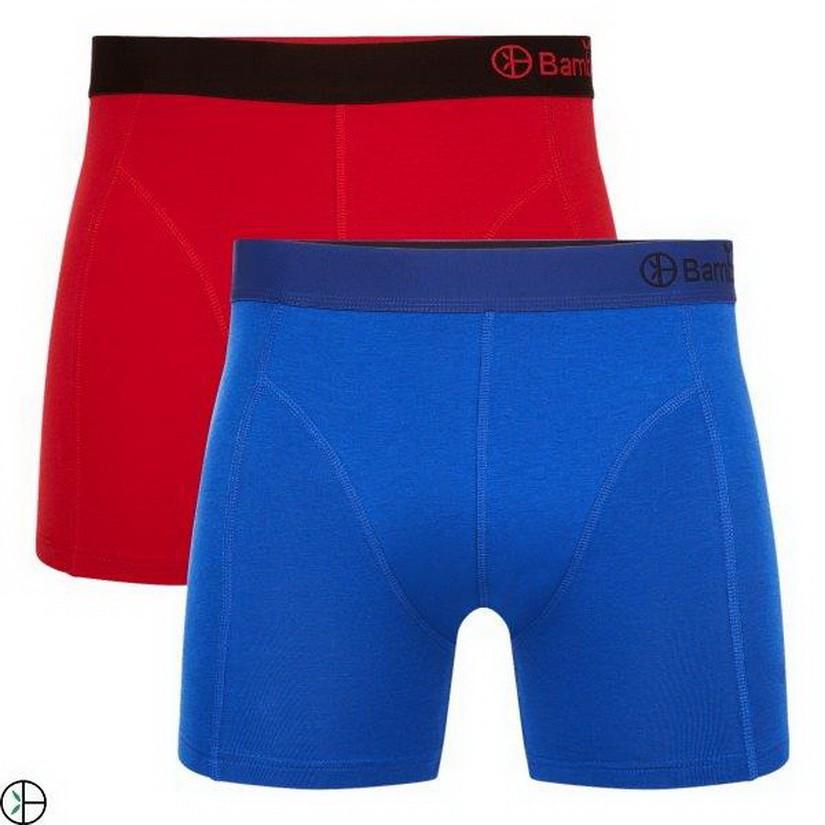 Afbeelding van Bamboo Basics 2pack heren boxershorts rood navy blauw