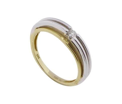 Afbeelding van Atelier Christian Bicolor gouden ring met solitair briljant geel goud