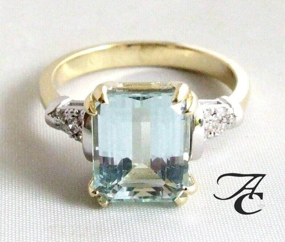 Afbeelding van Atelier Christian Bicolor ring met aquamarijn en diamanten geel goud