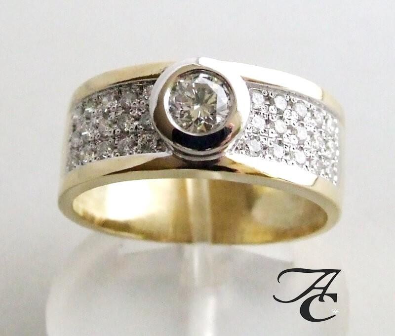 Afbeelding van Atelier Christian Bicolor ring met briljant geslepen diamanten geel goud
