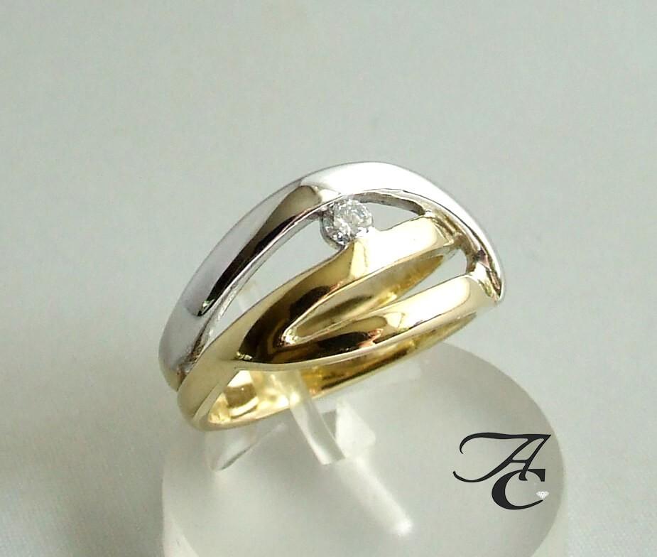 Afbeelding van Atelier Christian Bicolor briljanten ring geel goud