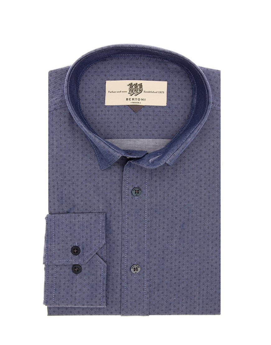 Afbeelding van Bertoni of Denmark Overhemd shirt mads blue blauw