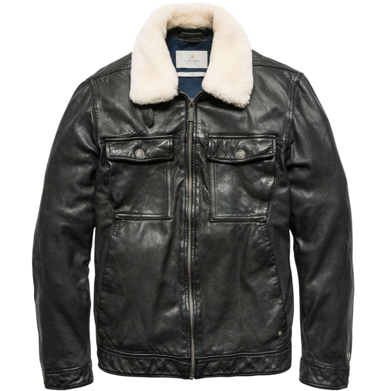 Afbeelding van Cast Iron Zip jacket trucker jacket jet black zwart