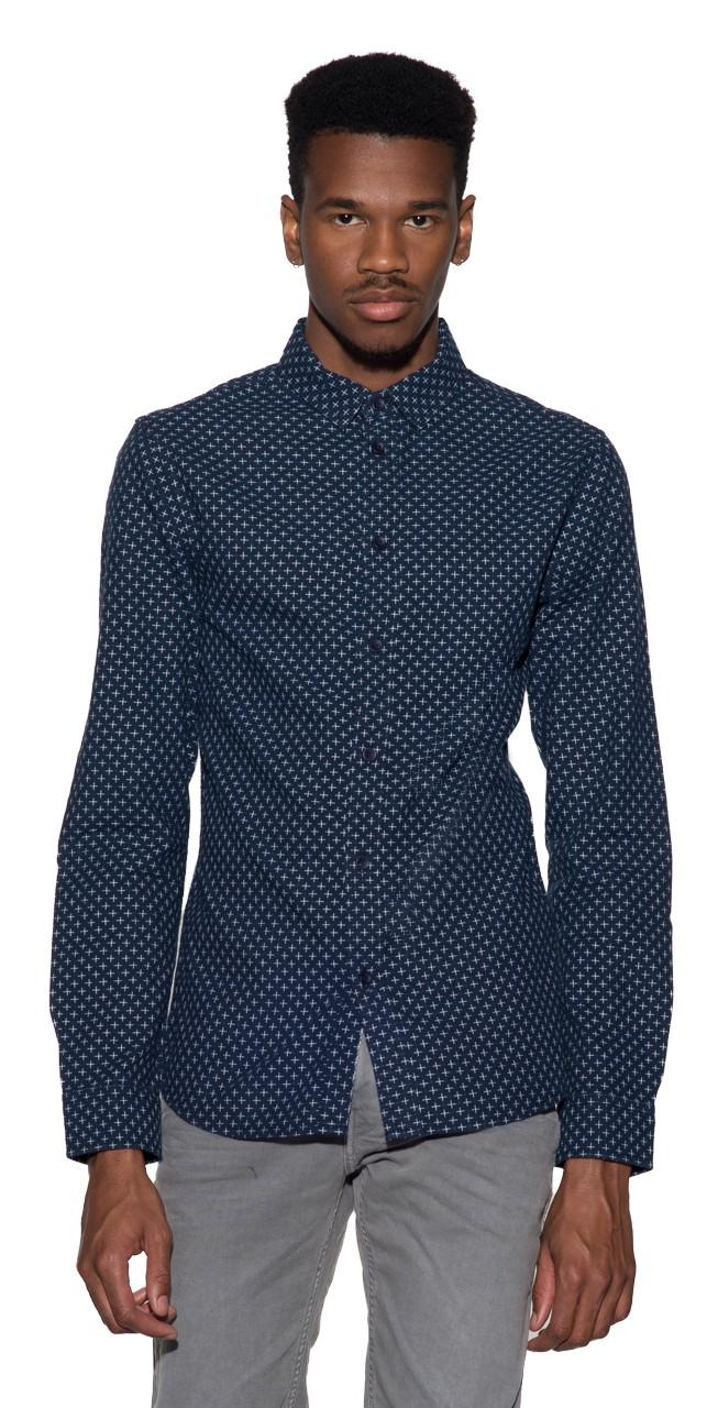 Afbeelding van Anerkjendt Casual shirt met lange mouwen blauw