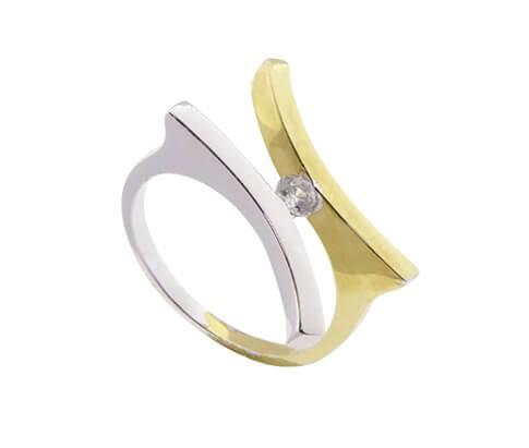 Afbeelding van Atelier Christian Bicolor gouden fantasie ring geel goud