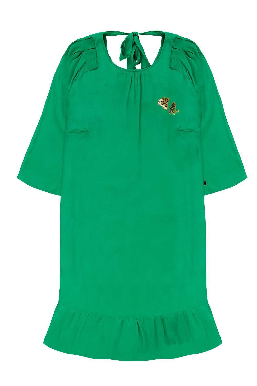 Afbeelding van 10 Feet Feminine dress ruffled bottom emerald groen