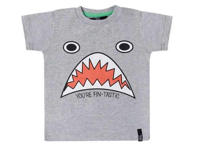 Afbeelding van Beebielove Shirt korte mouw shark melee grijs