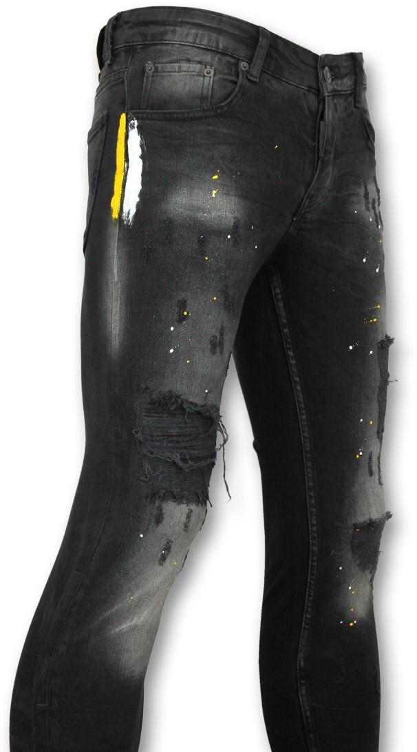 Afbeelding van Addict Spijkerbroek met verfvlekkjeans met verfvlekken zwart