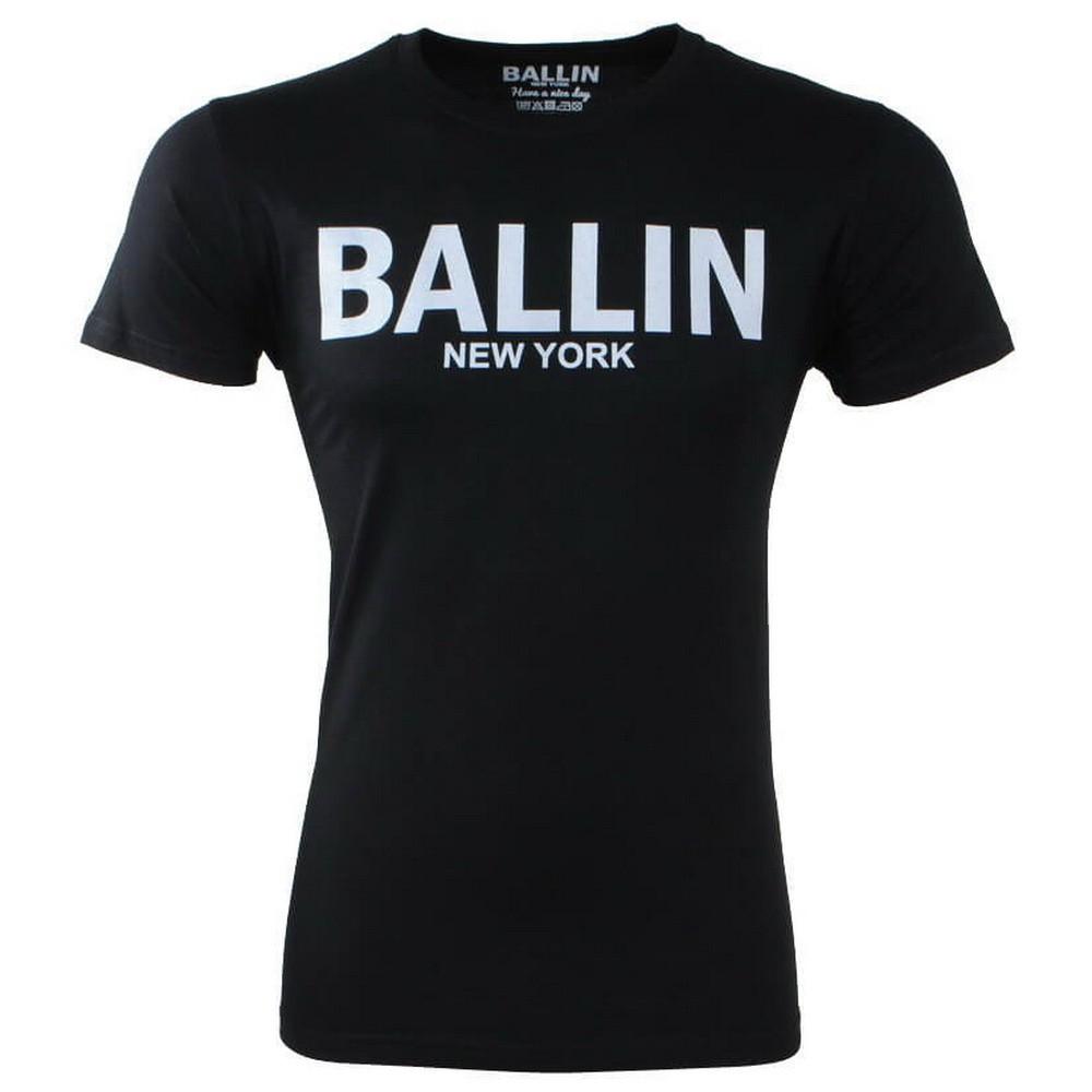 Afbeelding van Ballin New York Heren tshirt ronde hals slim fit zwart