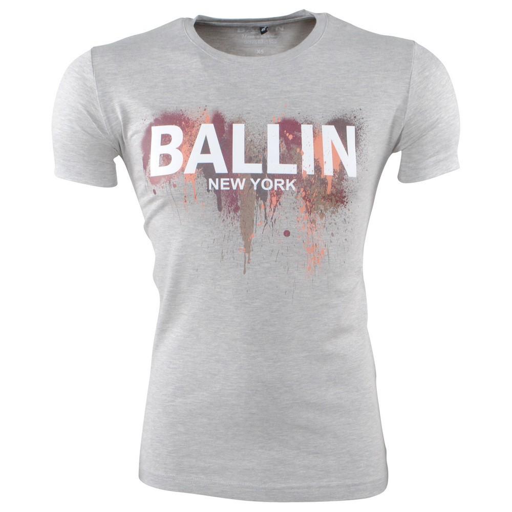Afbeelding van Ballin New York Heren tshirt ronde hals slim fit paint splash grijs