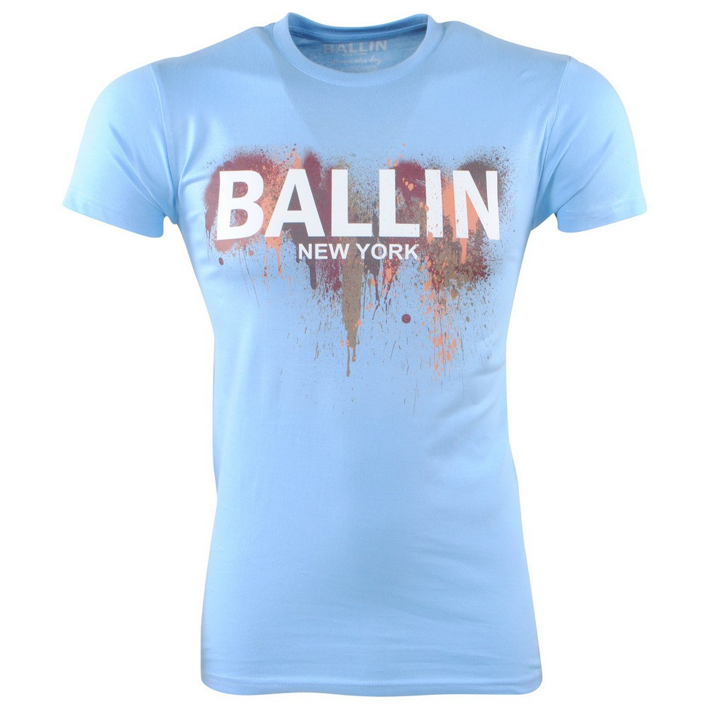Afbeelding van Ballin New York Heren tshirt ronde hals slim fit paint splash licht blauw