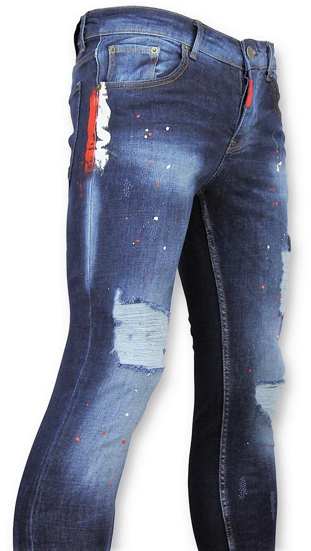 Afbeelding van Addict Broek met verfspatten heren blauw