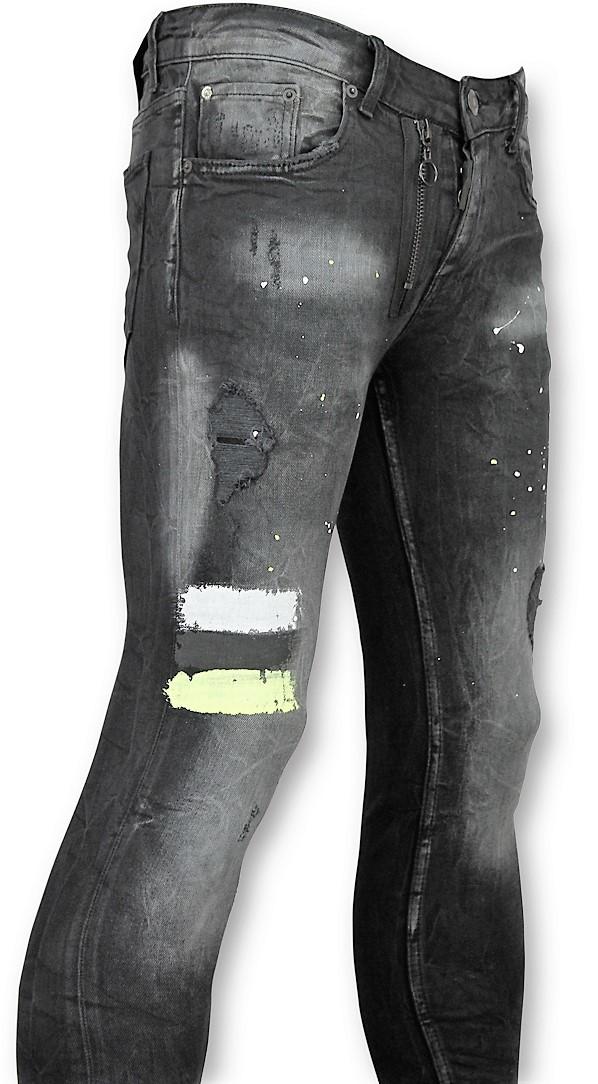Afbeelding van Addict Heren spijkerbroek met verfvlekken zwart