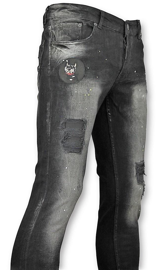 Afbeelding van Addict Spijkerbroek met patches heren zwart