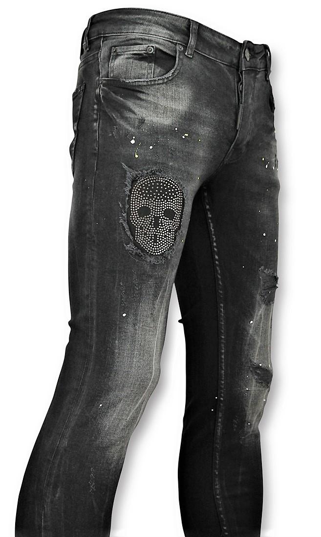 Afbeelding van Addict Skinny jeans met patches heren zwart
