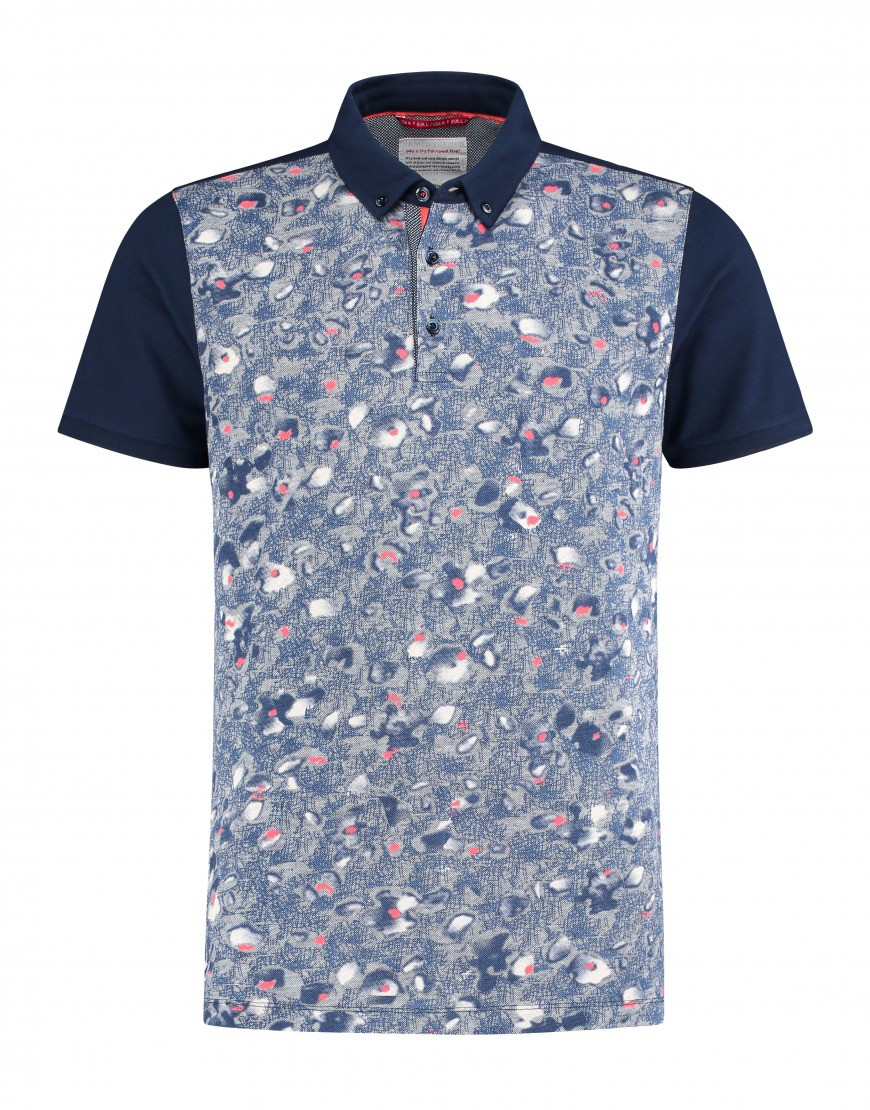 Afbeelding van A Fish Named Fred Polo-pique-floral blauw