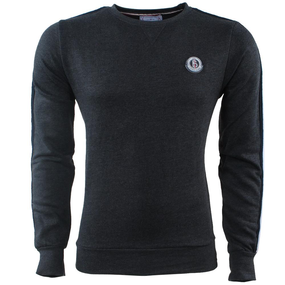 Afbeelding van Biaggio Jeans Heren trui ronde hals gestreept sweat antraciet