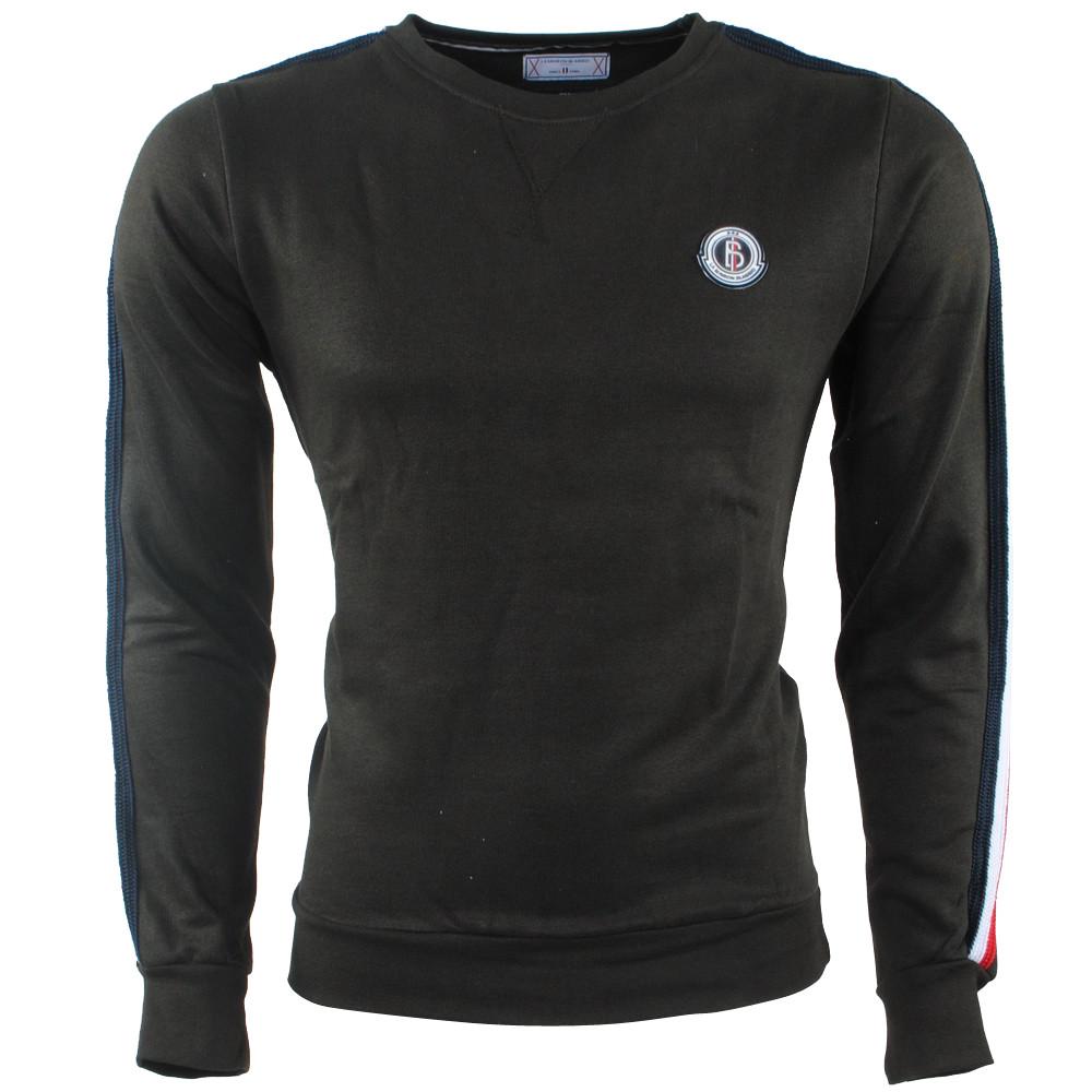 Afbeelding van Biaggio Jeans Heren trui ronde hals gestreept sweat kaki khaki