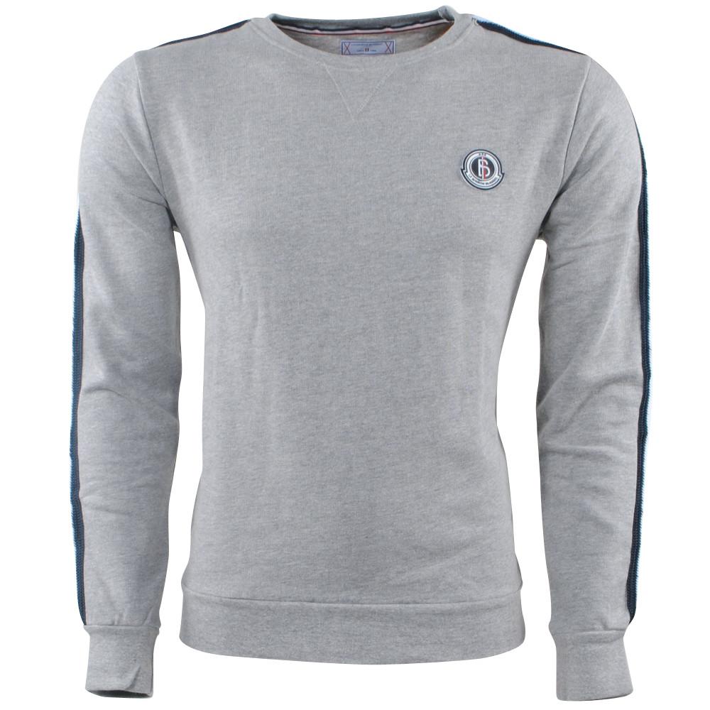 Afbeelding van Biaggio Jeans Heren trui ronde hals gestreept sweat licht grijs