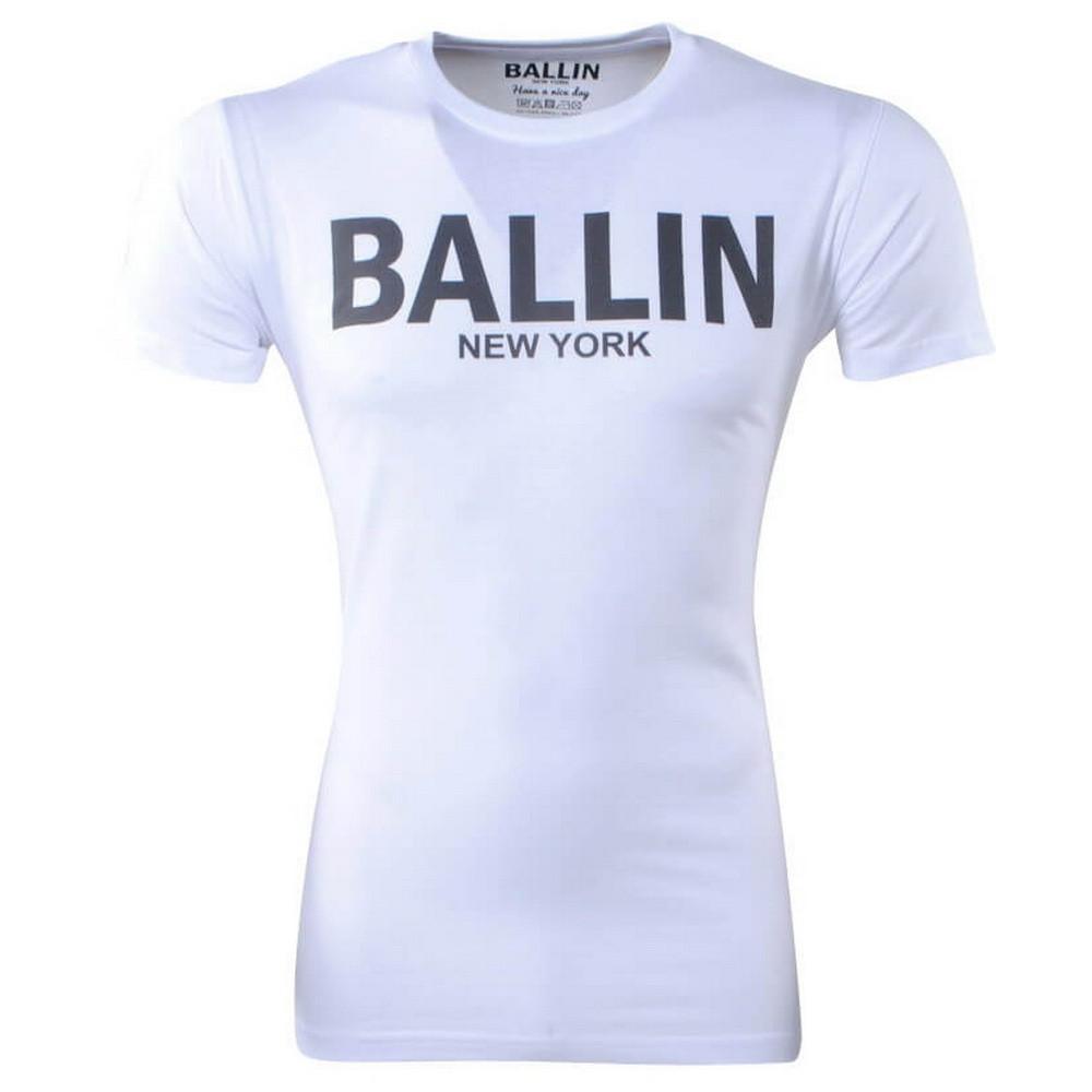 Afbeelding van Ballin New York Heren tshirt ronde hals slim fit wit