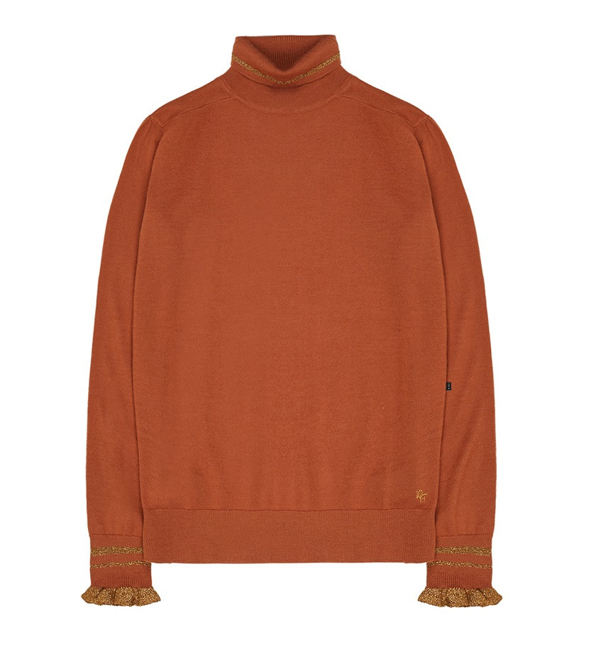 Afbeelding van 10 Feet Fine knit roll neck pullover bruin