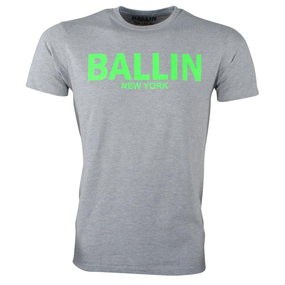 Afbeelding van Ballin New York Heren tshirt ronde hals fluoriserend groen grijs