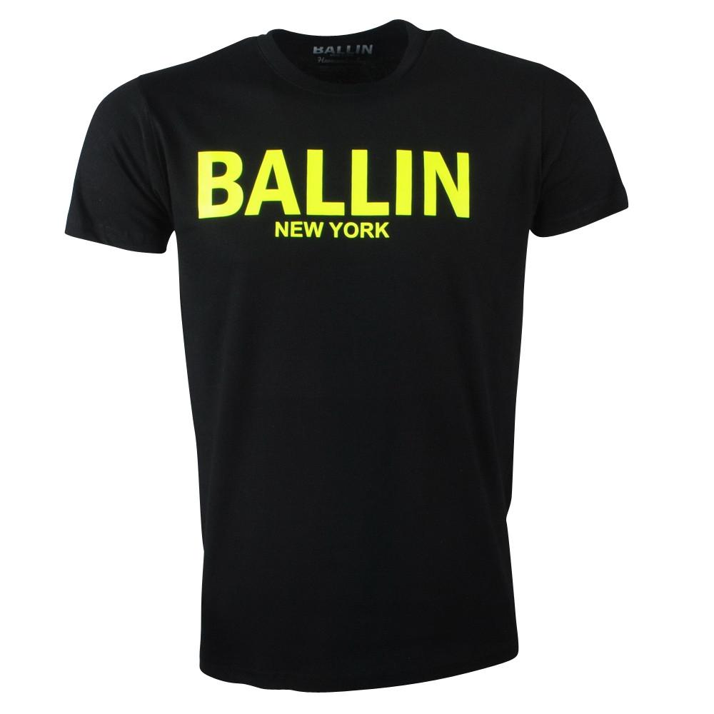 Afbeelding van Ballin New York Heren tshirt ronde hals fluoriserend geel zwart