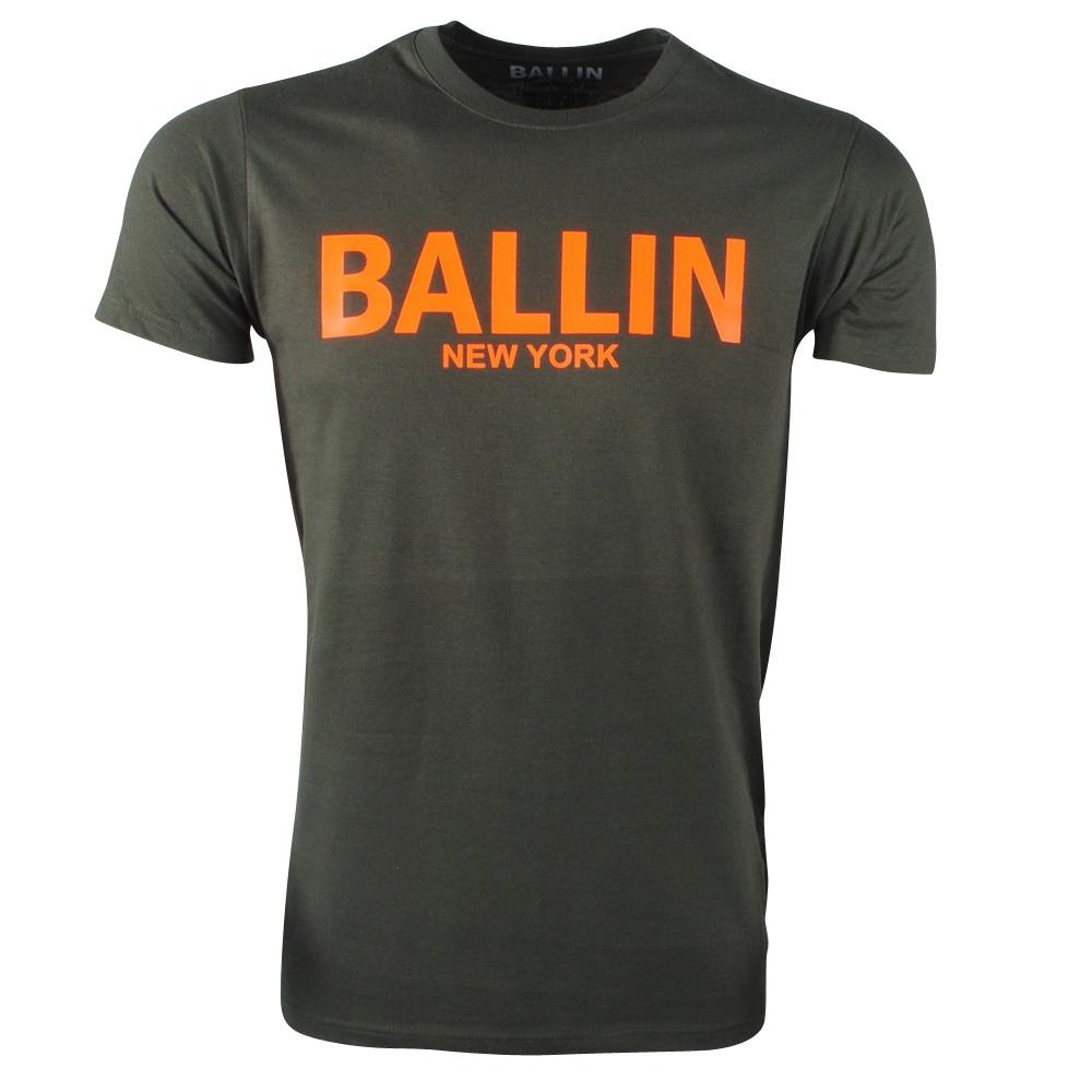 Afbeelding van Ballin New York Heren tshirt ronde hals fluoriserend oranje army