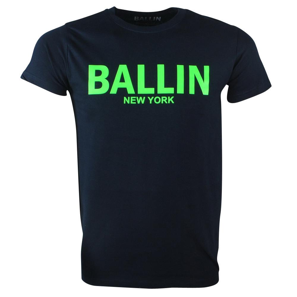 Afbeelding van Ballin New York Heren tshirt ronde hals fluoriserend groen blauw