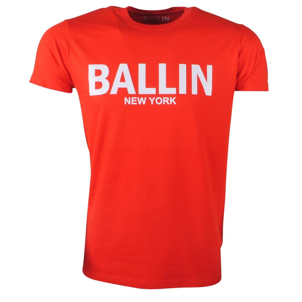 Afbeelding van Ballin New York Heren tshirt ronde hals rood