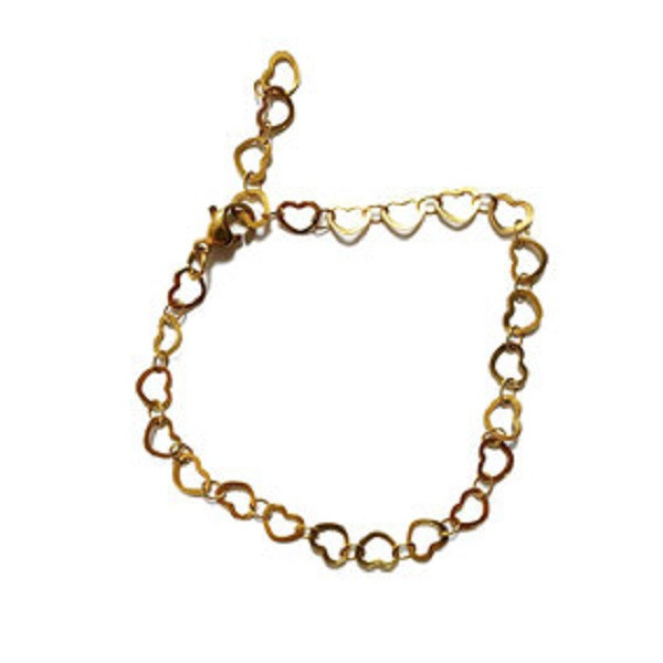 Afbeelding van 2 THE MOON 'N BACK Golden little hearts bracelet goud