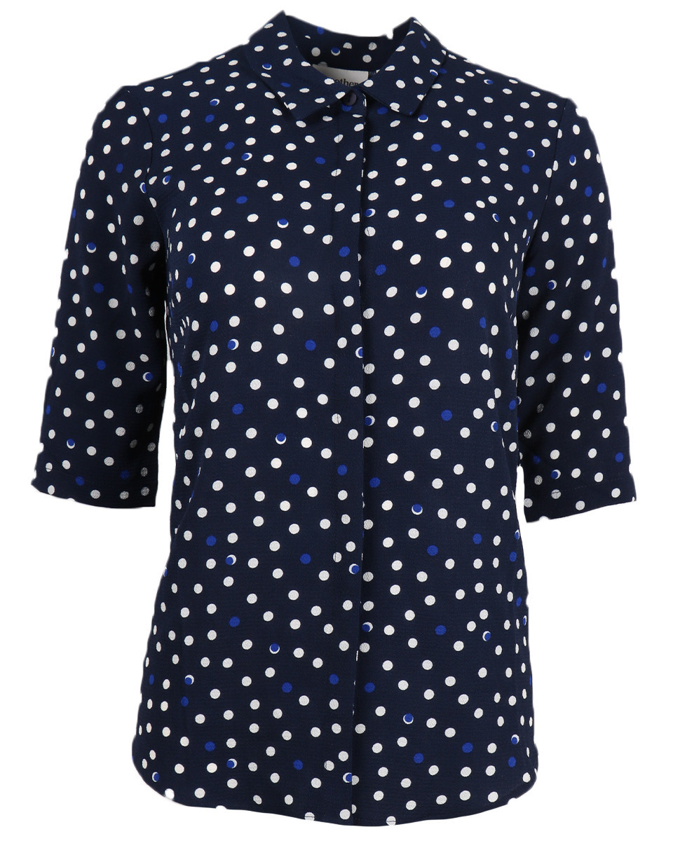 Afbeelding van Another Label Blouse d28-419104 bache polka blauw