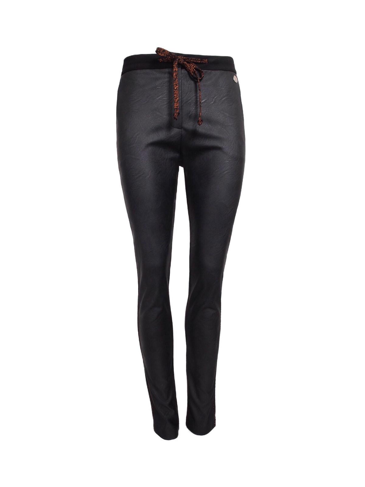 Afbeelding van 20 TO Broek leather look black 11009 zwart